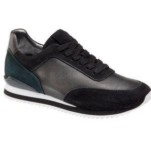 J&M Jules Black Metallic Suede Leather Sneakers